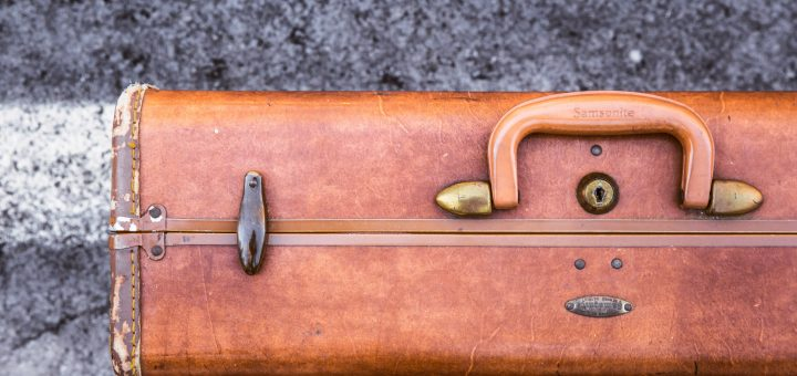 close-up of vintage leather suitcase of samsonite